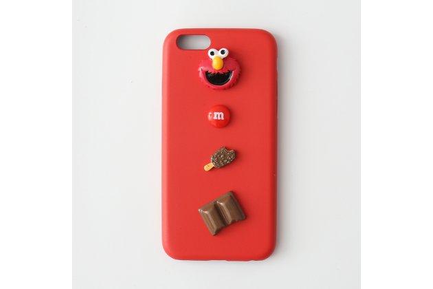 """Фирменная уникальная задняя панель-крышка-накладка из тончайшего силикона для iPhone 7 Plus   5.5 PRODUCT RED Special Edition с объёмным 3D рисунком тематика """"Улица Сезам"""""""