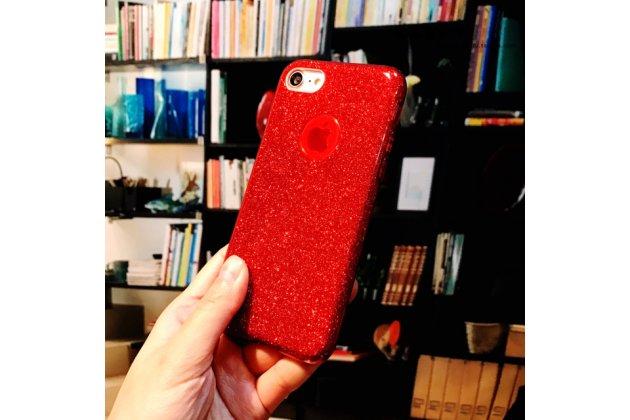 Фирменная задняя панель-крышка-накладка из тончайшего и прочного пластика для iPhone 7 Plus   5.5 PRODUCT RED Special Edition красная с блестками