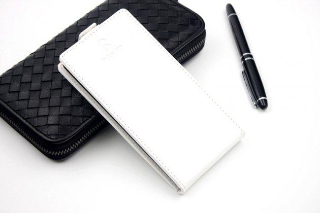 Фирменный оригинальный вертикальный откидной чехол-флип для Leagoo Alfa 2 белый из натуральной кожи Prestige Италия