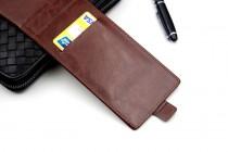 Фирменный оригинальный вертикальный откидной чехол-флип для Leagoo Alfa 2 коричневый из натуральной кожи Prestige Италия