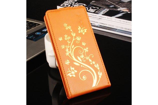 Фирменный вертикальный откидной чехол-флип для Leagoo Alfa 2 Золотое Цветение оранжевый