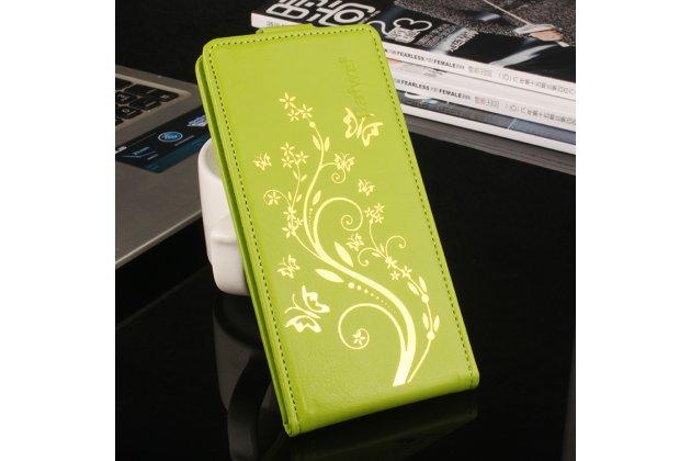 Фирменный вертикальный откидной чехол-флип для Leagoo Alfa 2 Золотое Цветение зеленый