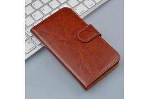 Фирменный чехол-книжка  из качественной импортной кожи с застёжкой и мультиподставкой для Leagoo Alfa 5 коричневый