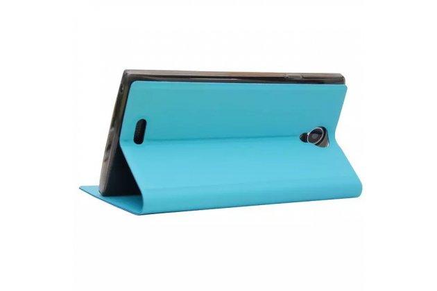 Фирменный оригинальный чехол-книжка для Leagoo Alfa 5 голубой с окошком для входящих вызовов водоотталкивающий