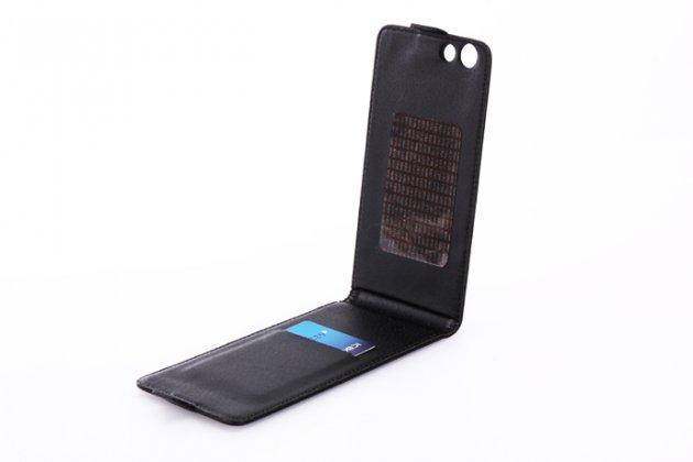 Фирменный оригинальный вертикальный откидной чехол-флип для Leagoo Elite 1 черный из натуральной кожи