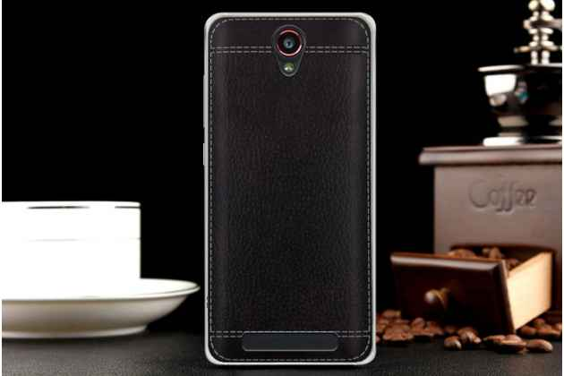 Фирменная премиальная элитная крышка-накладка на Leagoo Elite 5 черная из качественного силикона с дизайном под кожу