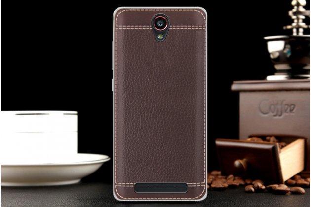 Фирменная премиальная элитная крышка-накладка на Leagoo Elite 5 коричневая из качественного силикона с дизайном под кожу