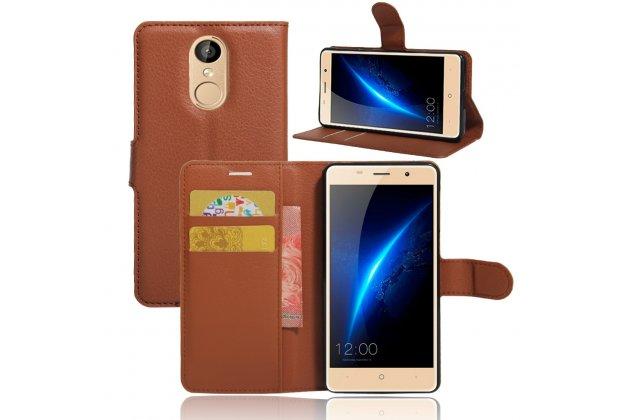 Фирменный чехол-книжка из качественной импортной кожи с подставкой застёжкой и визитницей для Leagoo M5 5.0 коричневый