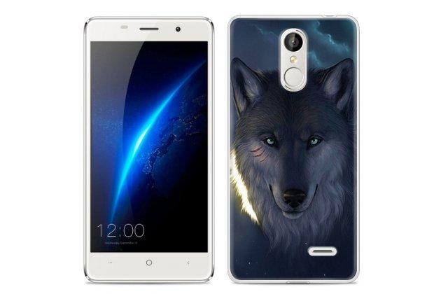 """Фирменная необычная из мягкого и тонкого силикона задняя панель-чехол-накладка для Leagoo M5 5.0 тематика """"Волк"""""""