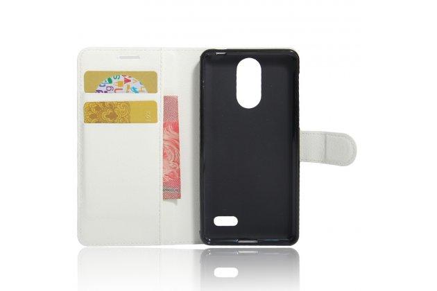 Фирменный чехол-книжка из качественной импортной кожи с подставкой застёжкой и визитницей для Leagoo M5 5.0 белый