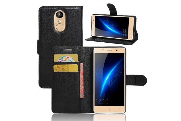 Фирменный чехол-книжка из качественной импортной кожи с подставкой застёжкой и визитницей для Leagoo M5 5.0 черный