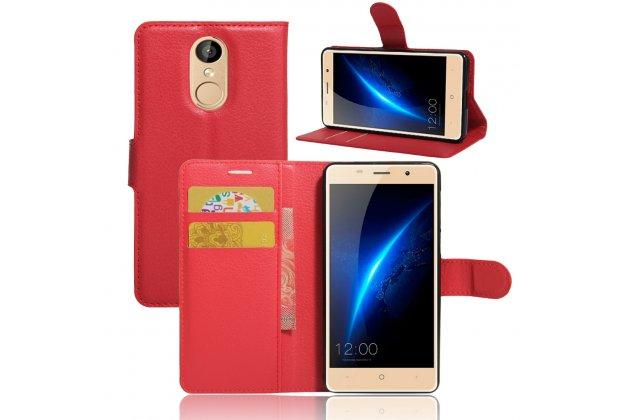 Фирменный чехол-книжка из качественной импортной кожи с подставкой застёжкой и визитницей для Leagoo M5 5.0 красный