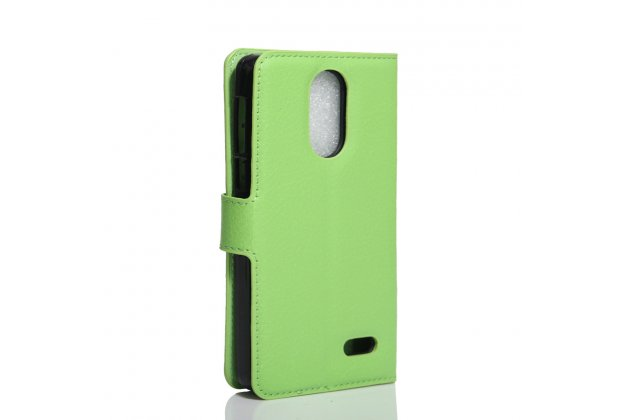 Фирменный чехол-книжка из качественной импортной кожи с подставкой застёжкой и визитницей для Leagoo M5 5.0 зеленый