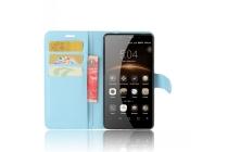 Фирменный чехол-книжка из качественной импортной кожи с мульти-подставкой застёжкой и визитницей для Leagoo M8 / M8 Pro голубой