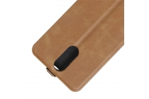 Фирменный оригинальный вертикальный откидной чехол-флип для Leagoo M8 / M8 Pro коричневый из натуральной кожи Prestige Италия