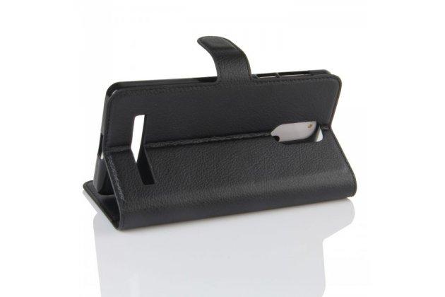 Фирменный чехол-книжка из качественной импортной кожи с мульти-подставкой застёжкой и визитницей для Leagoo M8 / M8 Pro черный