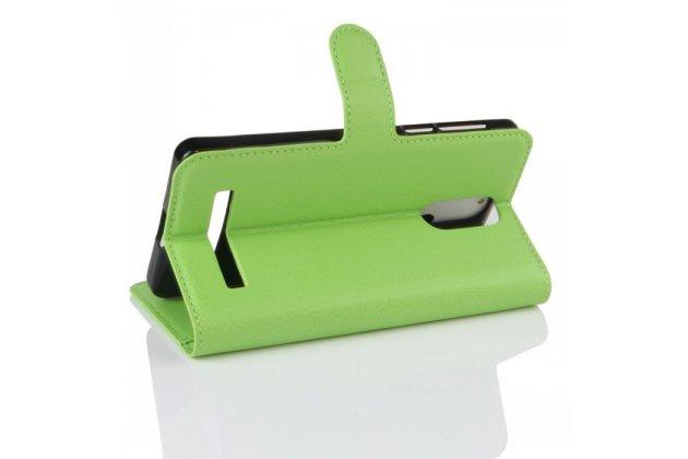 Фирменный чехол-книжка из качественной импортной кожи с мульти-подставкой застёжкой и визитницей для Leagoo M8 / M8 Pro зеленый