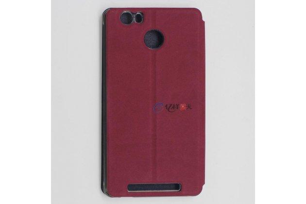 Фирменный чехол-обложка с подставкой для Leagoo Shark 1 красный кожаный