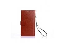 Фирменный чехол-книжка из качественной импортной кожи с подставкой застёжкой и визитницей для ЛеЭко Кул1 коричневый