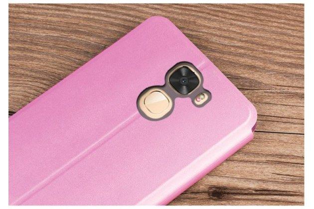 Фирменный чехол-книжка водоотталкивающий с мульти-подставкой на жёсткой металлической основе для LeEco Cool1 розовый