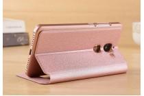 Фирменный чехол-книжка для LeEco (LeTV) Pro 3 розовый с окошком для входящих вызовов и свайпом водоотталкивающий