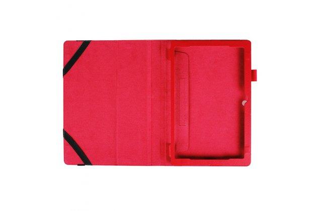 Фирменный оригинальный чехол для Lenovo ideapad MIIX 310 с отделением под клавиатуру красный кожаный