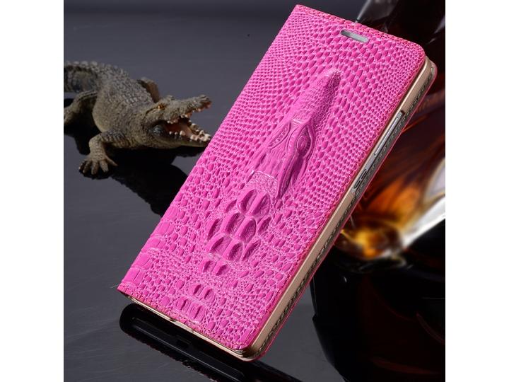 Фирменный роскошный эксклюзивный чехол с объёмным 3D изображением кожи крокодила розовый для Lenovo K5 Note (K..