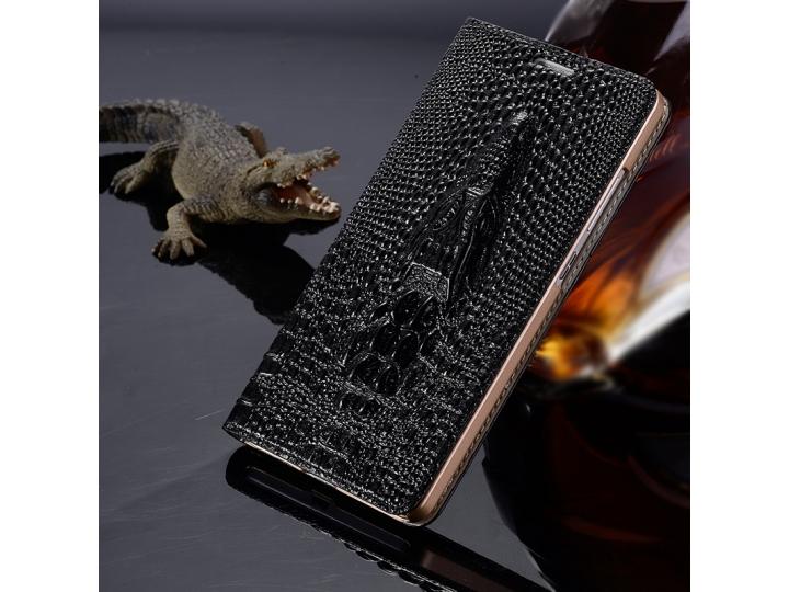 Фирменный роскошный эксклюзивный чехол с объёмным 3D изображением рельефа кожи крокодила черный для  Lenovo K5..