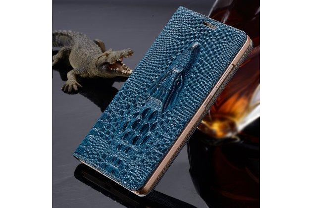 """Фирменный роскошный эксклюзивный чехол с объёмным 3D изображением рельефа кожи крокодила синий для Lenovo K5 Note (K52t38 / K52e78) 5.5"""" . Только в нашем магазине. Количество ограничено"""