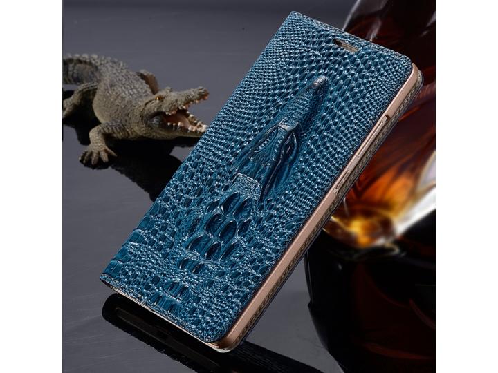 Фирменный роскошный эксклюзивный чехол с объёмным 3D изображением рельефа кожи крокодила синий для Lenovo K5 N..