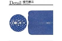 Фирменная роскошная эксклюзивная накладка  из натуральной рыбьей кожи СКАТА (с жемчужным блеском) синий для Lenovo К6 Note 5.5 (K53A48). Только в нашем магазине. Количество ограничено