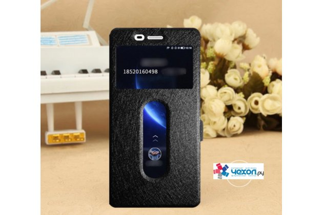 Фирменный чехол-книжка для Lenovo К6 Note 5.5 (K53A48) черный с окошком для входящих вызовов и свайпом водоотталкивающий