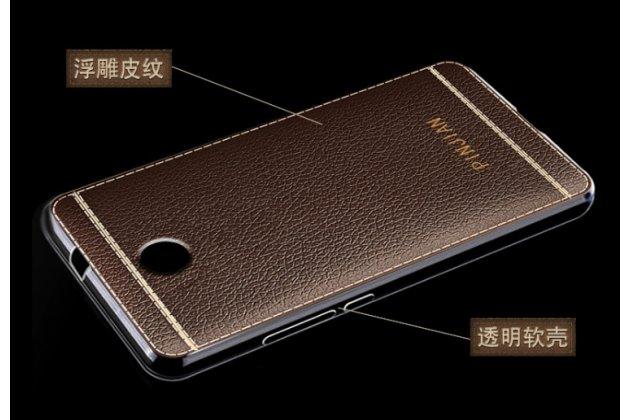 Фирменная премиальная элитная крышка-накладка на Lenovo К6 Note 5.5 (K53A48) коричневая из качественного силикона с дизайном под кожу