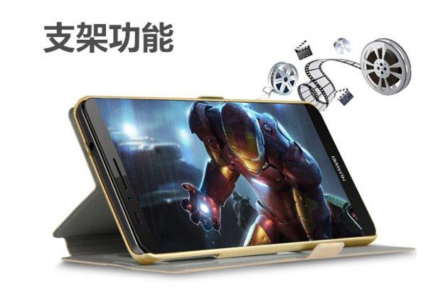 Фирменный чехол-книжка для Lenovo К6 Note 5.5 (K53A48) золотой с окошком для входящих вызовов и свайпом водоотталкивающий
