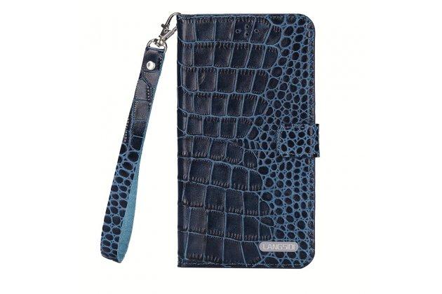 Фирменный роскошный эксклюзивный чехол с фактурной прошивкой рельефа кожи крокодила и визитницей синий для Lenovo К6 Note 5.5 (K53A48). Только в нашем магазине. Количество ограничено