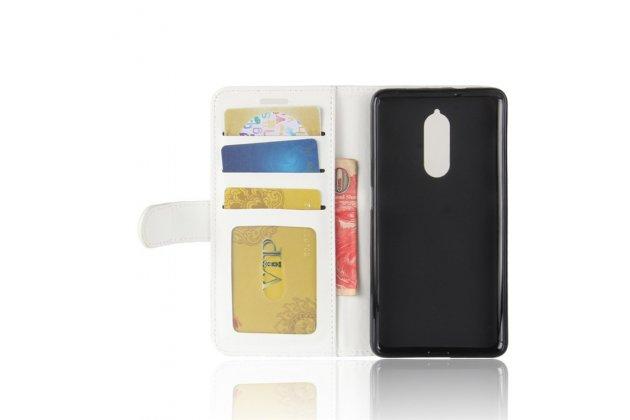 Фирменный чехол-книжка из качественной импортной кожи с подставкой застёжкой и визитницей для Lenovo K8 5.2 белый