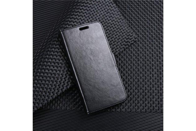 Фирменный чехол-книжка из качественной импортной кожи с подставкой застёжкой и визитницей для Lenovo K8 5.2 черный