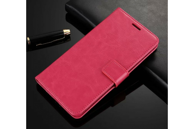 Фирменный чехол-книжка из качественной импортной кожи с подставкой застёжкой и визитницей для Lenovo K8 Note/K8 Plus розовый