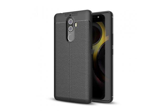 Фирменная премиальная элитная крышка-накладка на Lenovo K8 Note/K8 Plus черная из качественного силикона с дизайном под кожу