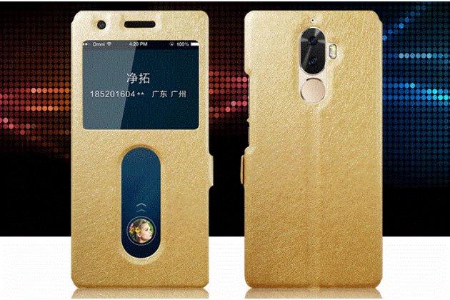 Фирменный чехол-книжка для Lenovo K8 Note/K8 Plus золотой с окошком для входящих вызовов и свайпом водоотталкивающий
