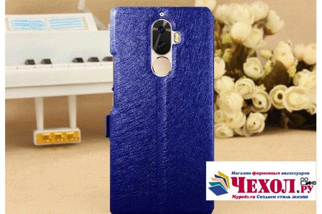 Фирменный чехол-книжка для Lenovo K8 Note/K8 Plus синий с окошком для входящих вызовов и свайпом водоотталкивающий