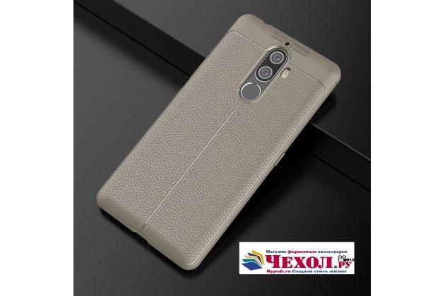 Фирменная премиальная элитная крышка-накладка на Lenovo K8 Note/K8 Plus серая из качественного силикона с дизайном под кожу