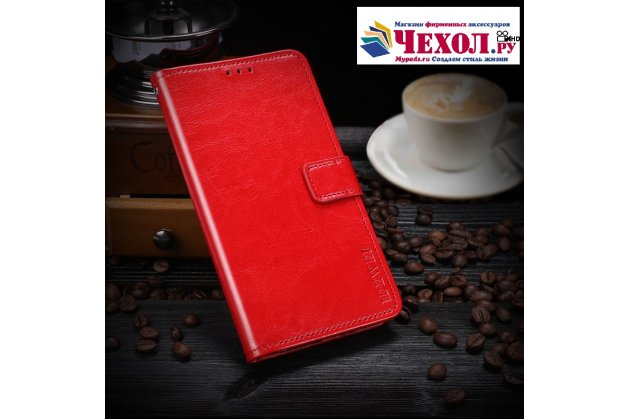 Фирменный чехол-книжка из качественной импортной кожи с подставкой застёжкой и визитницей для Lenovo K8 Note/K8 Plus красный