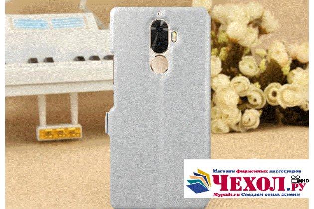 Фирменный чехол-книжка для Lenovo K8 Note/K8 Plus белый с окошком для входящих вызовов и свайпом водоотталкивающий