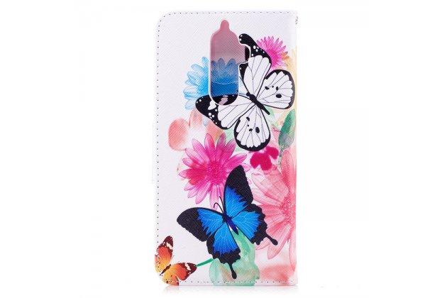 Фирменный уникальный необычный чехол-подставка для Lenovo K8 Note/K8 Plus  тематика Радужные бабочки