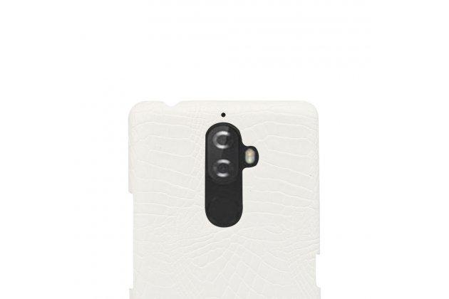 Фирменная роскошная элитная премиальная задняя панель-крышка на пластиковой основе обтянутая лаковой кожей крокодила  для Lenovo K8 Note/K8 Plus белый