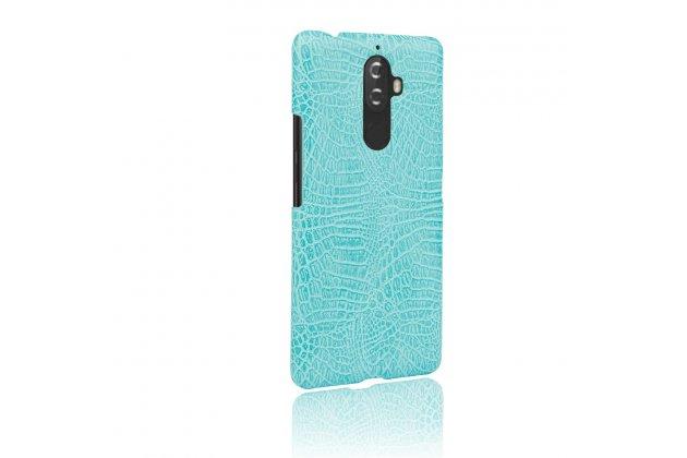 Фирменная роскошная элитная премиальная задняя панель-крышка на пластиковой основе обтянутая лаковой кожей крокодила  для Lenovo K8 Note/K8 Plus бирюзовый