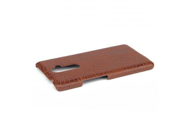 Фирменная роскошная элитная премиальная задняя панель-крышка на пластиковой основе обтянутая лаковой кожей крокодила  для Lenovo K8 Note/K8 Plus коричневый