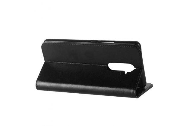 Фирменный чехол-книжка из качественной импортной кожи с подставкой застёжкой и визитницей для Lenovo K8 Note/K8 Plus черный