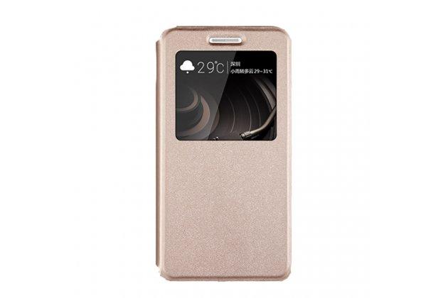 Фирменный оригинальный чехол-книжка для Lenovo K8 Note/K8 Plus золотой с окошком для входящих вызовов водоотталкивающий